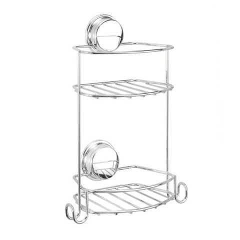 Croydex No Screws Stick n Lock 2 Tier Shower Rack With Hooks